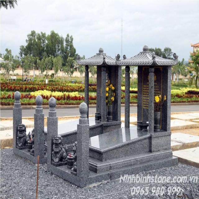 Mẫu mộ đá đôi một mái - mộ đôi đá granite -Mẫu mộ đôi đẹp nhất từ Ninh Bình Stone