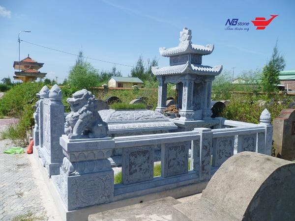 Mẫu lăng mộ đá xanh nguyên khối đẹp - Hình ảnh khu lăng mộ đá khối đẹp từ Ninh Bình Stone