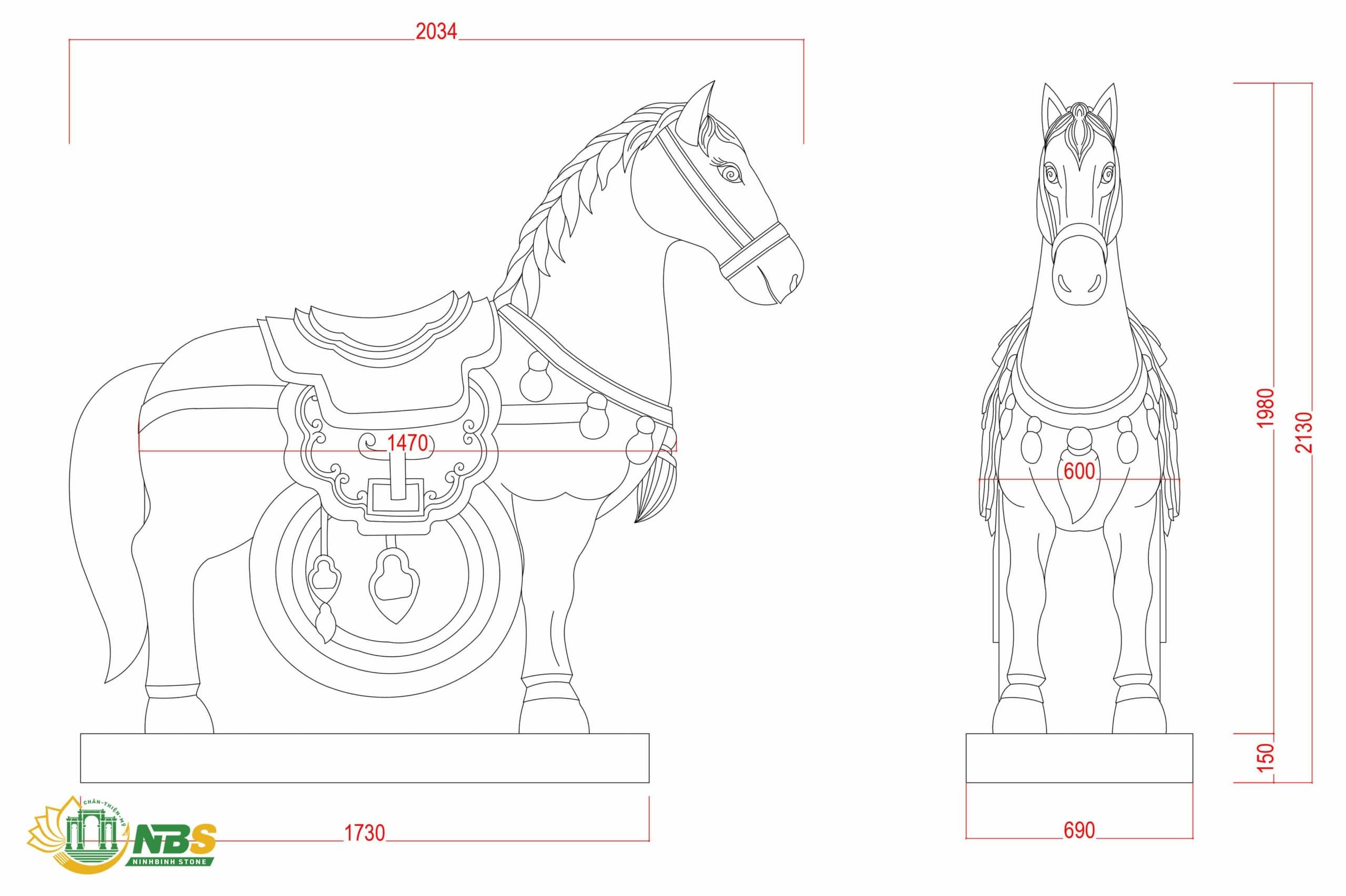 Bản vẽ thiết kế ngựa đá phong thủy đặt tại sân nhà thờ họ