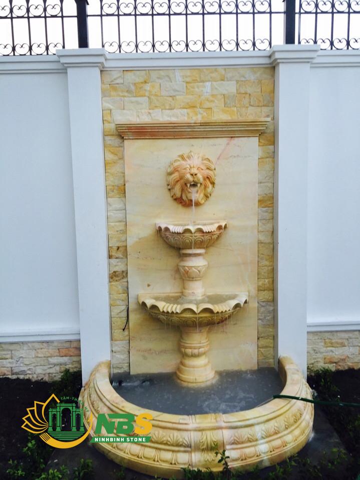 Đài phun nước nghệ thuật đẹp bằng đá vàng - Trụ đá phun nướccủa Ninh Bình Stone