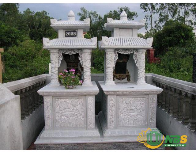 Mẫu mộ đá đôi hai mái đẹp - Mẫu lăng mộ đá đôi đẹp nhất của Ninh Bình Stone
